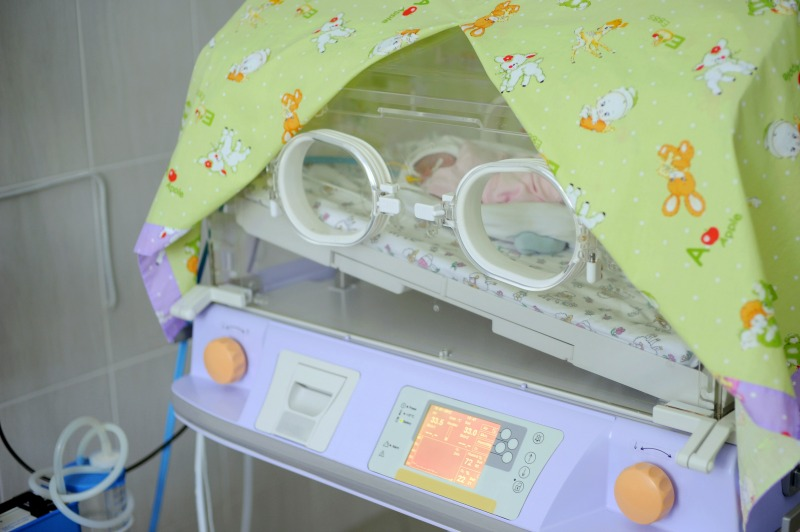 Close-up of incubator at maternity clinic's room