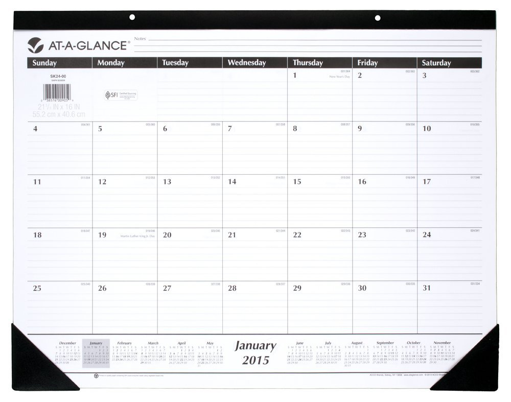 AT-A-GLANCE Monthly Desk Calendar 2015
