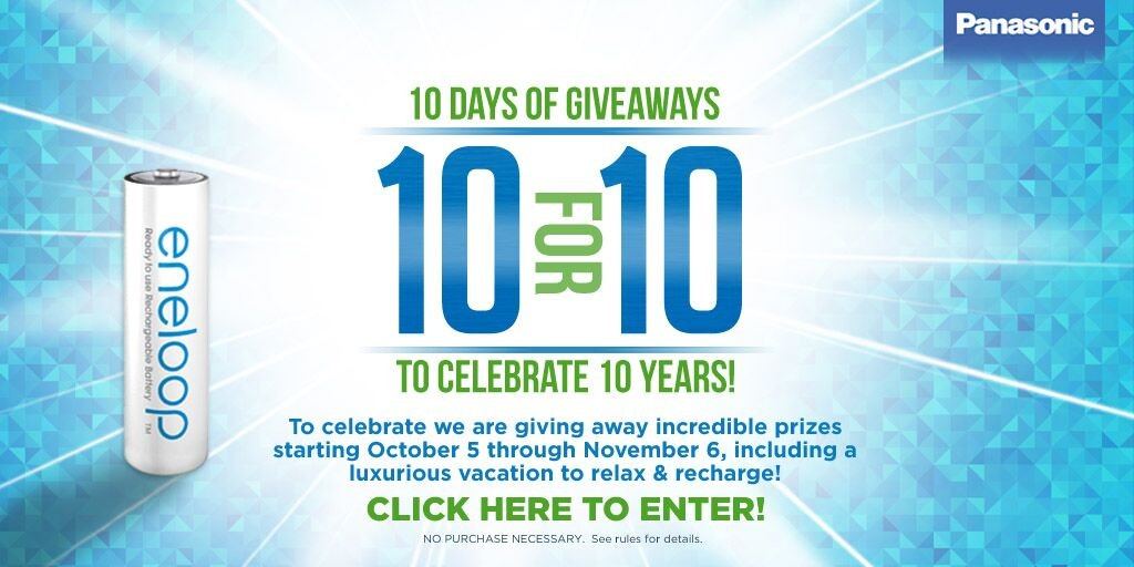 The eneloop 10 for 10 Giveaway