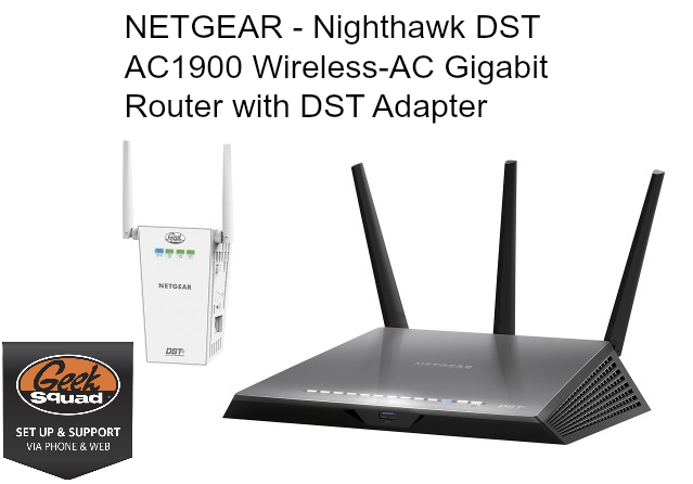 NETGEAR - Nighthawk DST AC1900 Wireless-AC Gigabit Router with DST Adapte