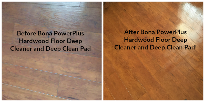 Bona PowerPlus Hardwood Floor Deep Cleaner before and after